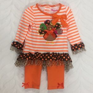 Thanksgiving Turkey Outfit Top Bottoms Set 12m
